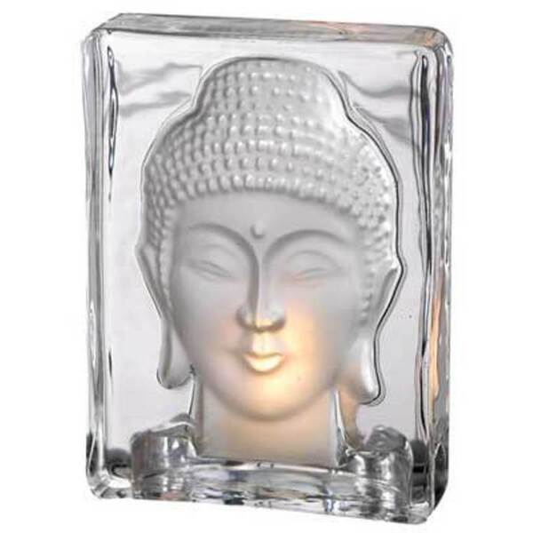 "Glass Buddha Tealight Holder 5 38"" Tall (SB190)"