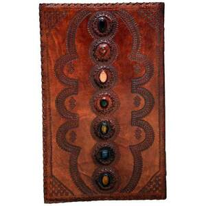 "7 Chakra Stone Leather Blank Book 4"" X 14"" x 22"" (BBBU613)"