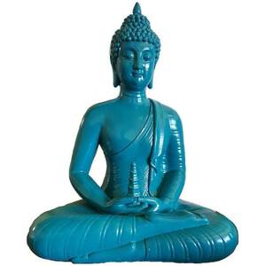 "Sitting Buddha Blue Statue 12"" Tall (SB347)"
