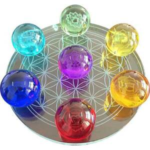"Chakra Flower of Life Set of Crystal Balls - 2.2"" Diameter Each on 10"" Diameter Flower of Life Stand (FC55CHA7 + FS021)"