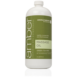 Green Tea Massage Oil 32 oz. by Amber Products (AMB526-GT)