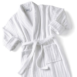Velour Stripe Bathrobe White by Boca Terry (SSSW073)