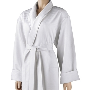 Satin Stripe Shawl Robe White by Boca Terry (SSSW052)