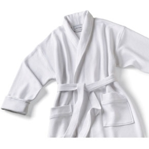 Knit Waffle Shawl Collar Robe White by Boca Terry (SSSW046)