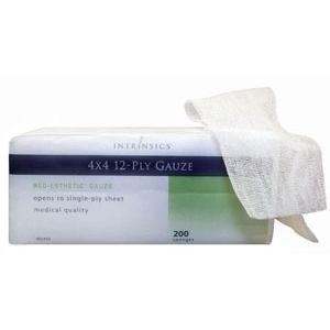 "4"" X 4"" 12-ply Gauze 200 per Sleeve Case of 10 Sleeves by Intrinsics (INT401423)"