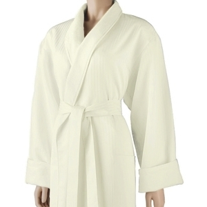 Satin Stripe Shawl Robe Ecru by Boca Terry (SSSW053)