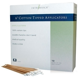 "6"" Cotton Tip Wooden Applicators / Each Box has 10 Packs of 100 / Case of 10 Boxes - 10,000 Applicators Total by Intrinsics (INT407480)"