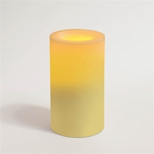 "Flameless Wax Candle 6"" x 3.25"" Round Unscented Champagne Color (CI10390-CH)"
