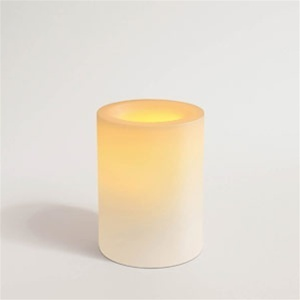 "Flameless Wax Candle 4"" x 3.25"" Round Unscented White Color (CI25090-WH)"