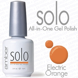 Solo All-in-One Gel Polish - No Base or Top Coat Needed - LED or UV Cured - 0.5 oz. Electric Orange (S545)