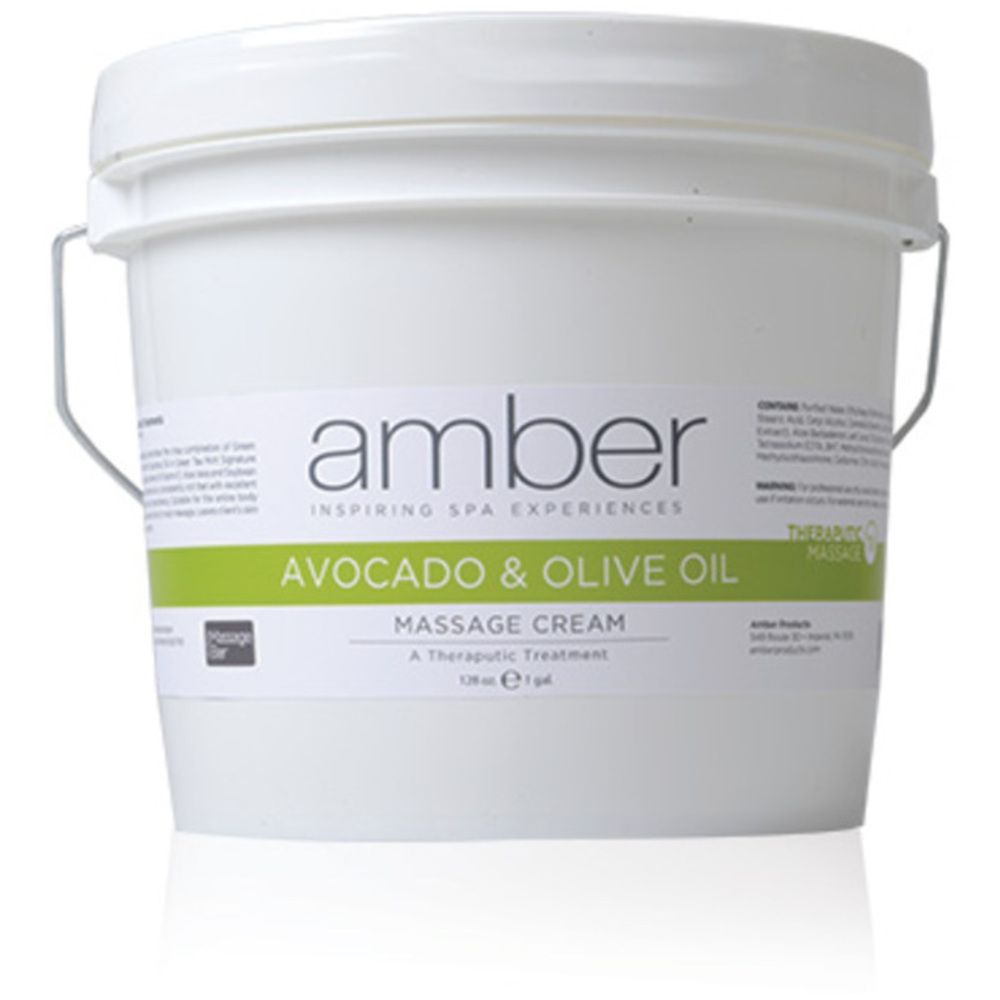 Olive & Avocado Therapeutic Hydrating Massage Cream / 128 oz  by Amber  Products (572)