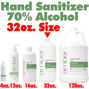 Amber Professional Green Tea Mint Hand Sanitizer - 70% Alcohol 32 oz. (HS032)