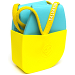 Salvatos - Portable Foldable Packable Flip-Flops - Light Blue | Yellow Strap + Light Blue Sole Case of 20 Pairs - 5 Small + 10 Medium + 5 Large (SS17FF031)