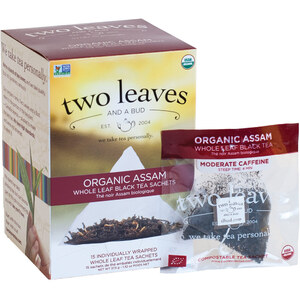 Organic Assam Breakfast Tea - Whole Leaf Black Tea Sachets Case of 6 Boxes of 15 Sachets = 90 Sachets Total
