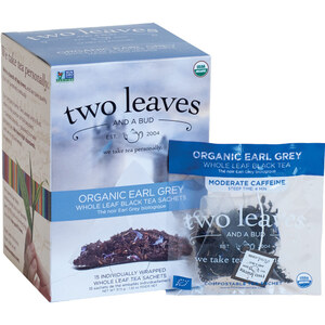 Organic Earl Grey Tea - Whole Leaf Black Tea Sachets Case of 6 Boxes of 15 Sachets = 90 Sachets Total
