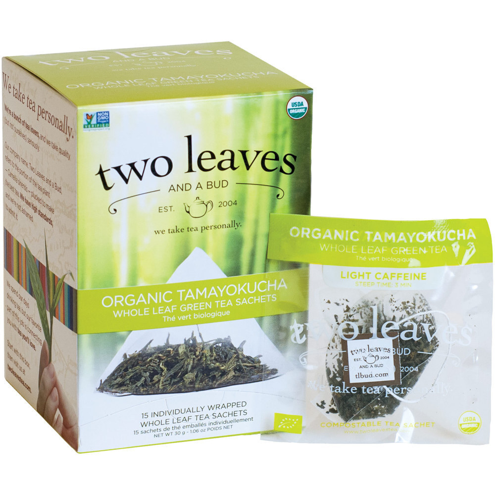 Organic Tamayokucha Tea - Whole Leaf Green Tea Sachets / Case of 6 Boxes of  15 Sachets = 90 Sachets Total by Two Leaves And A Bud (T00515 X 6 Boxes)