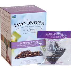 Jasmine Petal Tea - Whole Leaf Green Tea Sachets Case of 6 Boxes of 15 Sachets = 90 Sachets Total