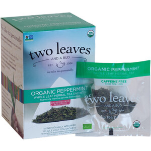 Organic Peppermint Tea - Whole Leaf Herbal Tea Sachets Case of 6 Boxes of 15 Sachets = 90 Sachets Total