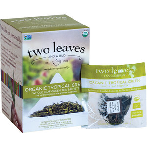 Organic Tropical Green Tea - Whole Leaf Green Tea Sachets Case of 6 Boxes of 15 Sachets = 90 Sachets Total