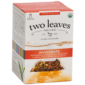 Organic Invigorate Tea - Peppermint-Lemon Mood Booster Case of 6 Boxes of 15 Sachets = 90 Sachets Total