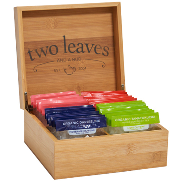 Bamboo Presentation Box for 4 Types of Tea - FILLED with 32 Sachets