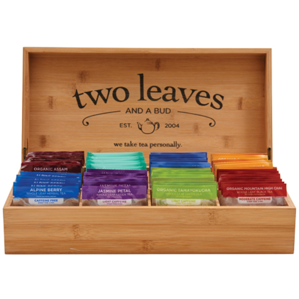 Bamboo Presentation Box for 8 Types of Tea - - FILLED with 64 Sachets