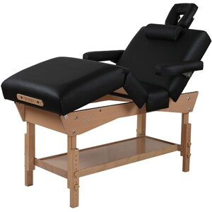 "Adjustable 4-Section Stationary Massage Table | Black - 30"" Width 