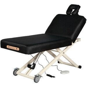 "Adjustable Back Rest Electric Lift Massage Table | Black - 30"" Width 