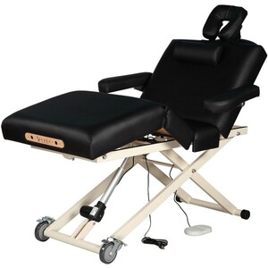 "Adjustable 4-Section Electric Lift Massage Table | Black - 30"" Width 