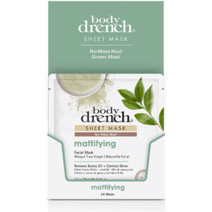 Body Drench No-Mess Green Mud Mattifying Sheet Masks 24 Pack (3865)