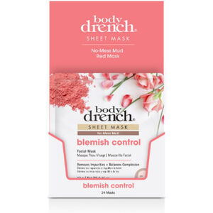 Body Drench No-Mess Red Mud Blemish Control Sheet Masks 24 Pack (3866)