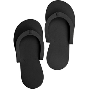 Disposable Pedi Slippers - Black 12 Pack (3512)