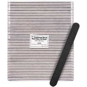 "7"" Cushioned Black Nail Files - 100180 Grit 50 Pack (1629)"
