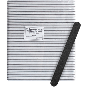 "7"" Cushioned Black Nail Files - 180320 Grit 50 Pack (5459)"