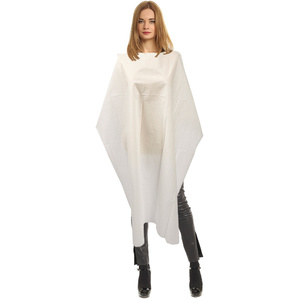 "Single Use Disposable White Salon Capes - Poly-Backed Tissue - 45"" x 54"" Case of 50 (5192)"