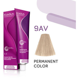 Kadus Professional Permanent Hair Color - 9AV Very Light Blonde Ash Violet 2 oz. (4634)