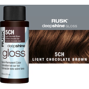 Rusk Deepshine Gloss - Liquid Demi-Permanent Color 5-in-1 Illuminating Formula 5CH Light Chocolate Brown 2 oz. (9570)
