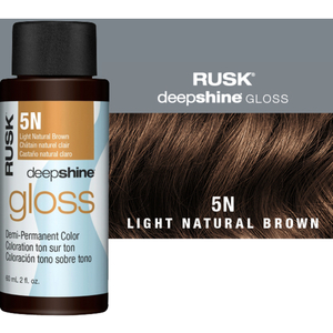 Rusk Deepshine Gloss - Liquid Demi-Permanent Color 5-in-1 Illuminating Formula 5N Light Natural Brown 2 oz. (9545)