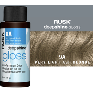 Rusk Deepshine Gloss - Liquid Demi-Permanent Color 5-in-1 Illuminating Formula 9A Very Light Ash Blonde 2 oz. (9547)