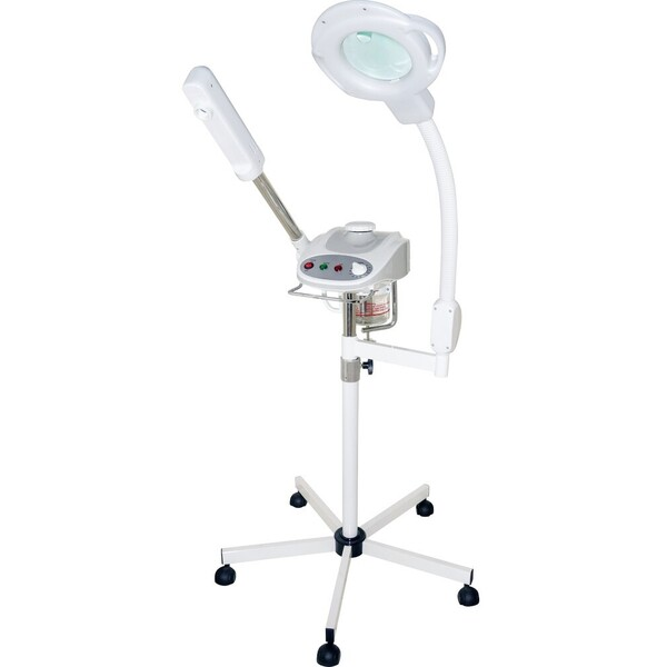 2-in-1 Facial Unit - Aromatherapy Ozone Facial Steamer with Silent Timer + 5 Diopter Magnifying Lamp with 8 Diopter Spot Lens Combo (CM-7001A)