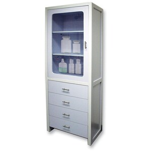 "Spa Storage Cabinet with 3 Locking Shelves and 4 Locking Drawers 26""W x 15""D x 79""H (CH-8300)"
