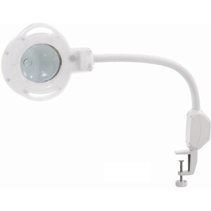 Round Magnifier Lamp with Flexible Gooseneck + Table Top C-Clamp - 5 Diopter Magnification with 8 Diopter Magnification Eye Piece (CM-2502B)