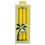 Candle 9 Inch Palm Taper Yellow 4 Pack by Aloha