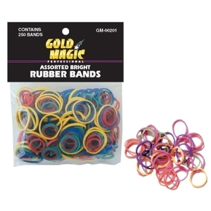 Gold Magic Rubber Bands Bright Assorted Colors (GM