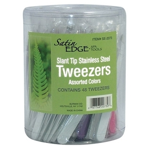 Satin Edge Slant Tip Tweezers In A Container 3 C