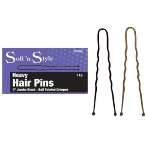 "Soft 'n Style 3"" Jumbo Black Hair Pin 1 Lb. Box (P"