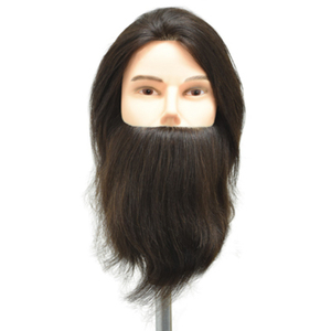 "Celebrity Ryan Deluxe Bearded Human Hair Male Manikin 20"" Brown Hair (660)"
