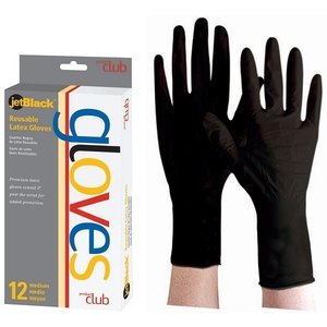 Product Club - Reusable Black Latex Gloves 12 Per Box - Size: Small (JBLG-12S)