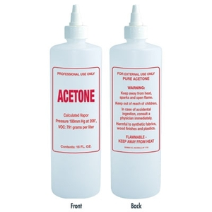 Imprinted Nail Solution Bottle - Acetone 16 oz. with Twist Top (B68)