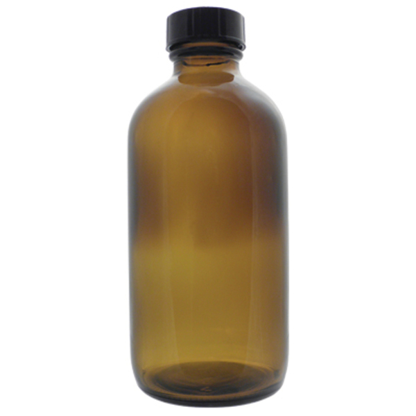 Amber Boston Round Glass Bottle - 8 oz. Case of 96 (DL-C365)